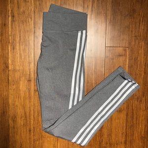 Adidas Gray 3-Stripe Leggings